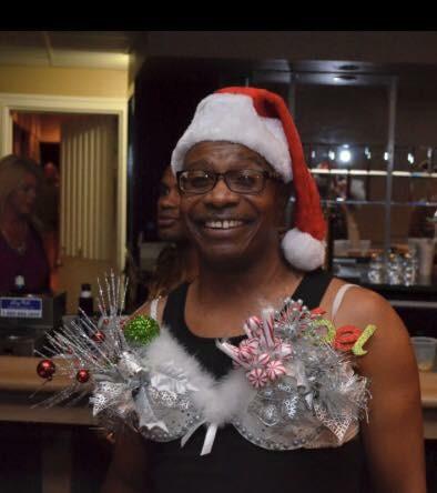 man in santa hat Bras for a Cause Gulf Coast
