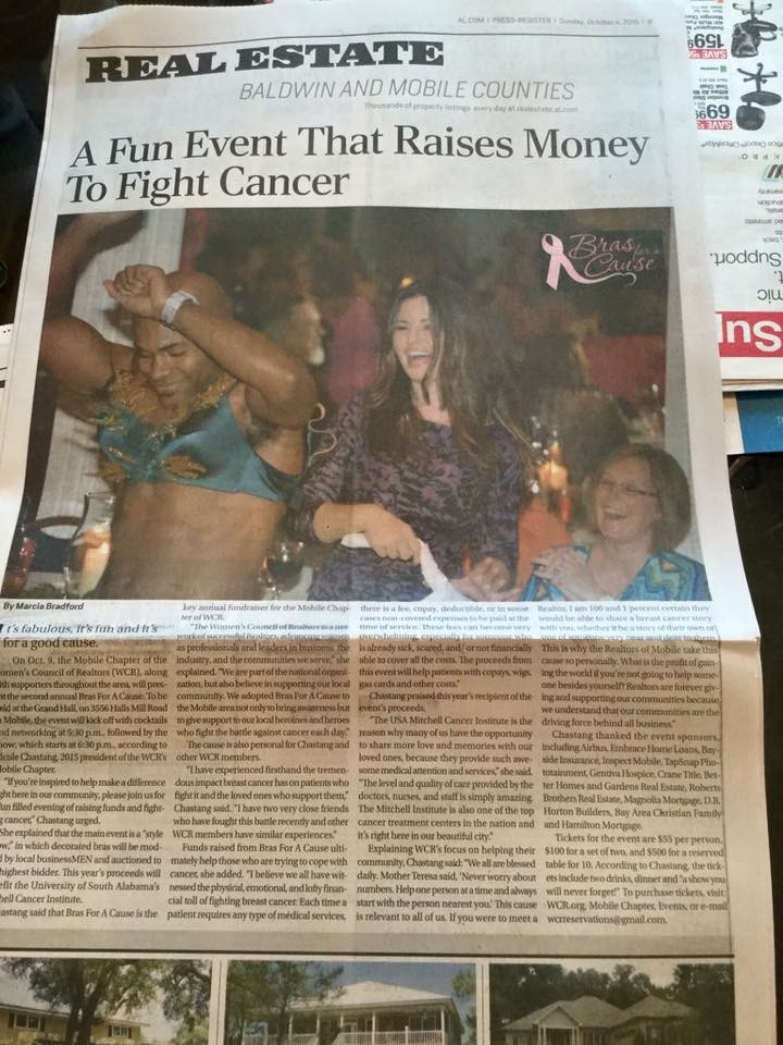 Newspaper article about Bras for a Cause Gulf Coast