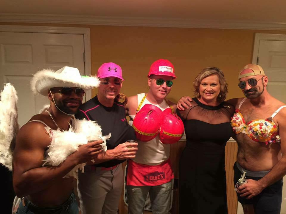 Men modeling at Bras for a cause gulf coast